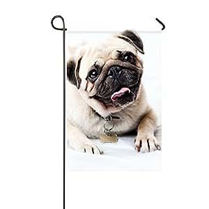 RH Studio - Bandera de jardín, diseño de cachorro de cara feliz, 30,5 x 45,7 cm (sin mástil)