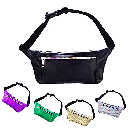 iAbler Holographic Fanny Pack for Women and Men Metallic 80s Waterproof Shiny Fanny Packs with Adjustable Belt Fashion Waist Bum Bag for Party, Festival, Rave, Hiking, Trip (Mermaid-Black)