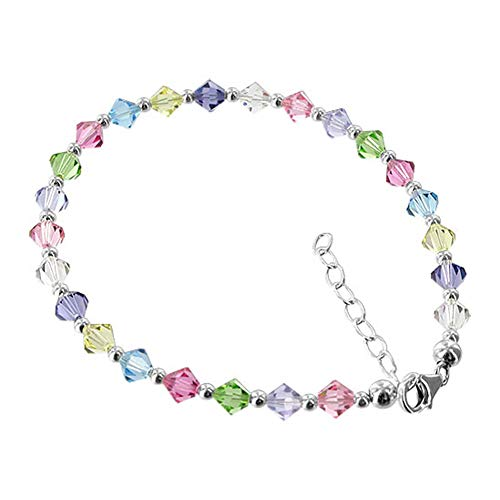 (Gem Avenue 925 Sterling Silver Bicone Swarovski Elements Multicolor Crystal Anklet Ankle Bracelets for Women)