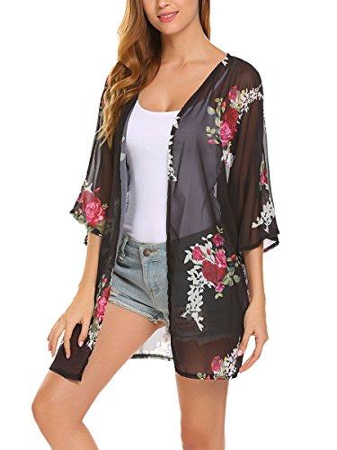 - Women Chiffon Floral Print Loose Cover Up Top Summer Kimono Cardigan (M, Black)