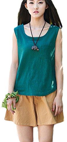 r Casual Loose Sleeveless Cotton Linen Top Blouses Green 1 (Linen Sleeveless Blouse)