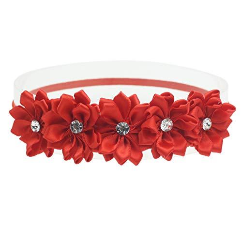 Red Headband for Baby Girl Handmade Flower Headbands Newborn photography props (Red Flower Crwon, 6-24 Months)