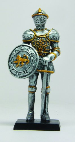 Sword Statue (4 Inch Medieval Knight with Sword and Shield Resin Statue Figurine)