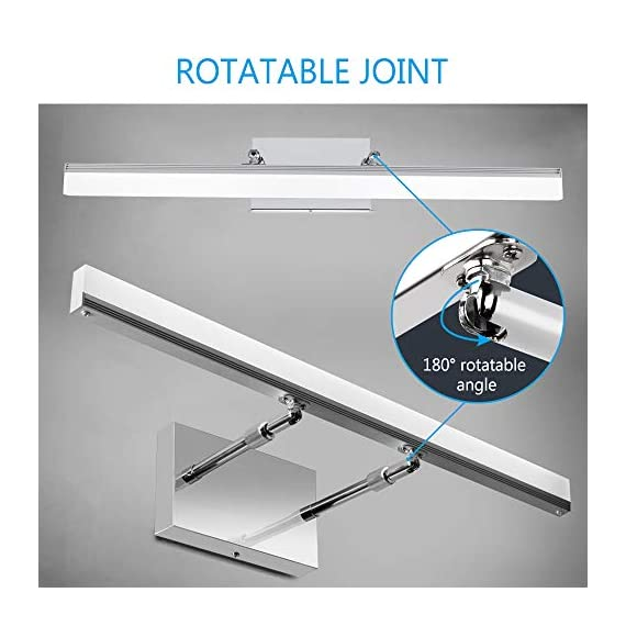 LEDMO Modern LED Bathroom Vanity Lights Retractable Cool White 6000K Stainless Steel Vanity Wall Light Adjustable Over Mirror Long LED Bathroom Lighting Fixtures(14W, 24Inch) - Retractable Design(6.1 to 8.9 inch),suitable for mirror cabinets,medicine cabinet Adjustable light direction-With the 180° rotatable hinge,adjust the light direction as you want Modern LED vanity lights Easy installation,with US Junction BOX,save your time. - bathroom-lights, bathroom-fixtures-hardware, bathroom - 41c9uuyEctL. SS570  -