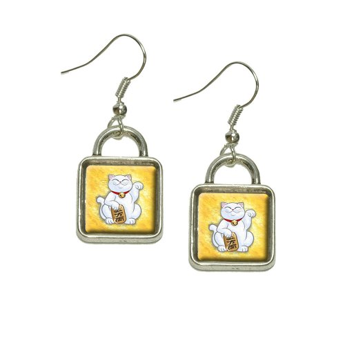 Lucky Beckoning Cat Maneki Neko Fortune Japanese Kawaii Dangling Drop Square Charm Earrings
