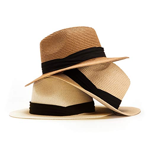 Beach Hats for Women Straw Hats Fedora Hats 3 Pack Sun Hats Summer Hats Womens Panama (Pack of 3 (Khaki,Beige,Milk White)) (Best Quality Panama Hats)