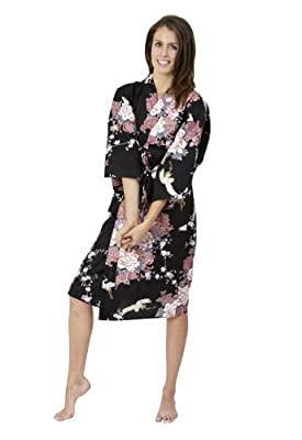 Beautiful Robes Women's Flying Crane & Peony Cotton Kimono Short