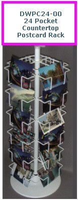 24 Pocket Postcard Rack Countertop Spinner Rack with 4x6 Pockets