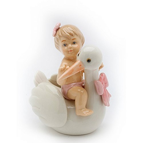 Cosmos 20921 Baby Girl on Stork Ceramic Figurine, 3 5/8