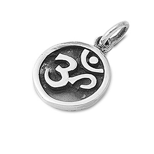 Om Symbol Pendant .925 Sterling Silver Charm - Silver Jewelry Accessories Key Chain Bracelet Necklace Pendants