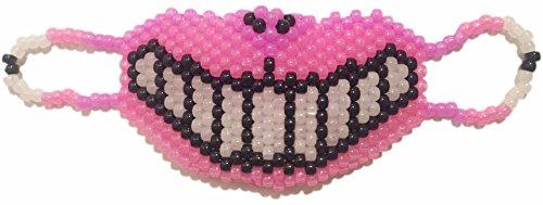 """Masque fluorescent Kandi """"Chat du Cheshire"""" complet - Kandi Gear, masque pour rave party, masque pour Halloween, masque de perle pour festivals de musique et fêtes"""