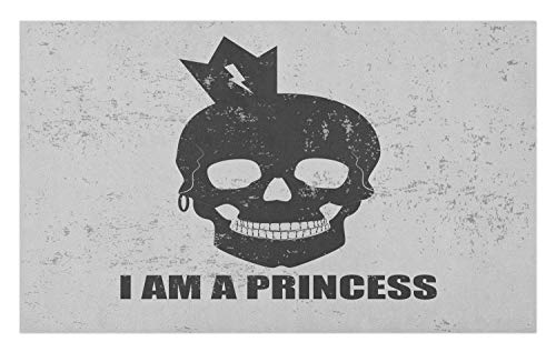 Ambesonne I am a Princess Doormat, Skull with a Crown Skeleton Halloween Theme Grunge Look, Decorative Polyester Floor Mat with Non-Skid Backing, 30 W X 18 L Inches, Charcoal Grey and Pale Grey ()