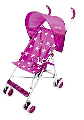 Wonder Buggy Skyler Jumbo Umbrella Stroller with Rounded Hood - Stars Pink