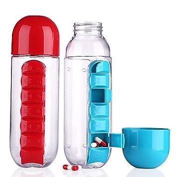 wwqy 1 pieza 600 ml mi botella de agua deporte combinar el pastillero diario organizador de plástico a prueba de fugas de agua potable botellas para vaso ...