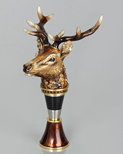 Jay Strongwater Stag Head Wine Stopper with Stand - Multi Colors by Jay Strongwater