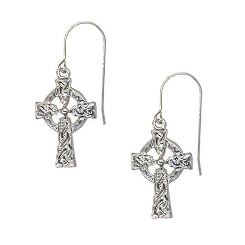Sterling Silver Detailed Celtic Knotwork Cross Drop Dangle Earrings