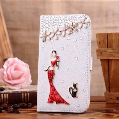 Galaxy S6 Edge Plus Wallet Case, UnnFiko Handmade Luxury 3D Bling Crystal Rhinestone Leather Purse Flip Card Pouch Stand Cover Case for Samsung Galaxy…