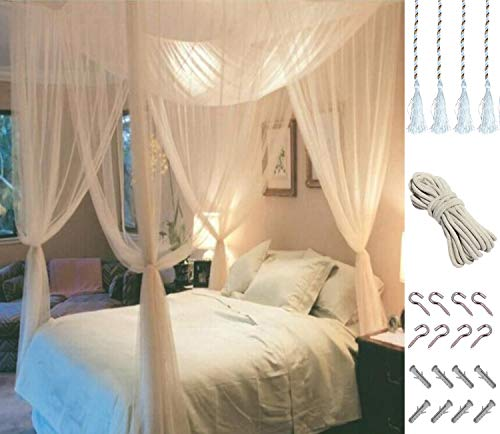 MOSQUITO NET for Double Bed by Comtelek, Four Corner Post Elegant Mosquito Net Bed Canopy Set, Stick hook &profession rope for net, Screen Netting Canopy Curtains, Full/Queen/King