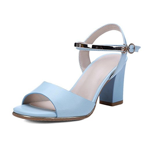 AllhqFashion Sandals Buckle Women's Blue PU Heels Toe Open High Solid rwrpnRq8Ox