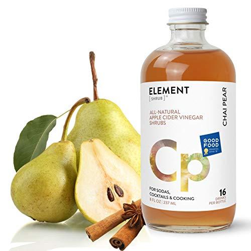 Element Shrub - All-Natural Chai Pear Shrub Drink Mix - Uses Apple Cider Vinegar (Organic), Fresh Pear & Organic Spices - Organic Apple Cider Vinegar Drink & Cocktail Mix - 8 Ounces