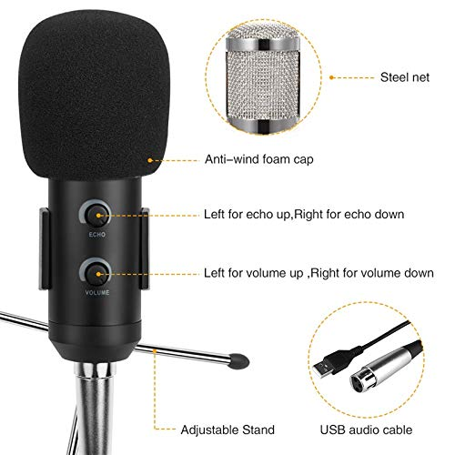 Professional Capacitor USB Microphone BM900 Applicable to Computer BM-800  Upgraded Audio Studio Vocal Recording KTV Adjustable Volume Microphone