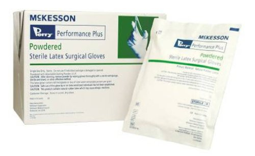 McKesson Perry® Performance Plus Sterile Latex Surgical Gloves, Powdered, Smooth, Cream, Hand Specific, Size 7.5 - Box of 40 Pair