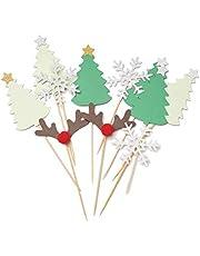 مجموعة تكملة كعكة عيد ميلاد مجيد، 10 قطع، أعلام تزيين الكعك، ندفات الثلج، تزيين شجرة عيد الميلاد، لوازم حفلات الكعك، أدوات خبز الكاب كيك