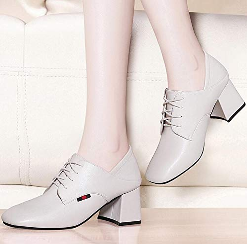 square shoes and heel shoes Ladies Women's shoes shoes shoes ' autumn winter high leather Black heel Work style AJUNR wFSRHR