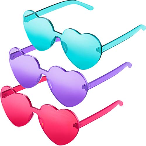 Maxdot 3 Pack Heart Shape Sunglasses Party Sunglasses (Pink Purple Green)