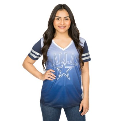 - Dallas Cowboys Women's Navy Calloway Rhinestone V-Neck Jersey Medium