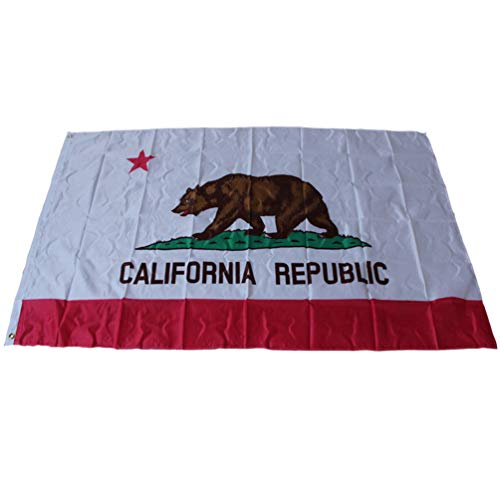 (hongma California State Flag Double Sided Embroidered 210D Indoor Outdoor Brass Grommets Heavy Duty Polyester)