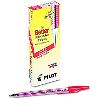 Pilot 37011 Better Ball Point Stick Pen, Red Ink, .7mm (Pack of 12)