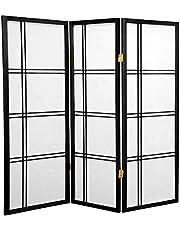 Oriental Furniture Smaller Sized Low Height, 4-Feet Short Double Cross Shoji Floor Screen Room Divider, 3 Panel Black