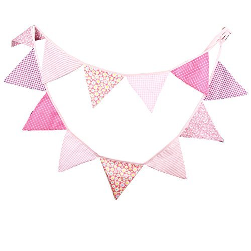 Flag Garland (INFEI Pink Vintage Fabric Flag Buntings Garlands Wedding Birthday Party Decoration)