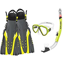 Body Glove Aquatic Passage Mask Snorkel and Fins Set, Large/X-Large, Yellow/Black