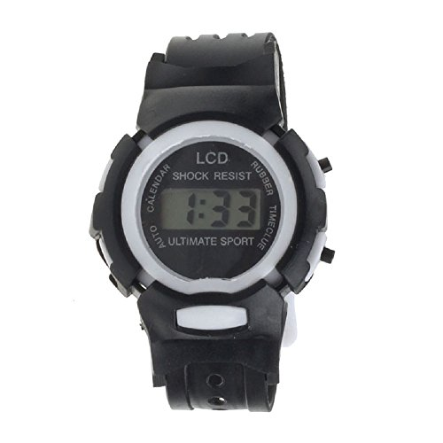 SMTSMT Students' Time Clock Digital LCD Wrist Sport Watch-Black