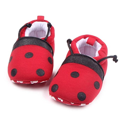 Auwer Cute Ladybug Baby Shoes Toddler First Walkers Shoes Round Toe Flats Soft Slippers Prewalker Socks Boots (9-12Month, Red)