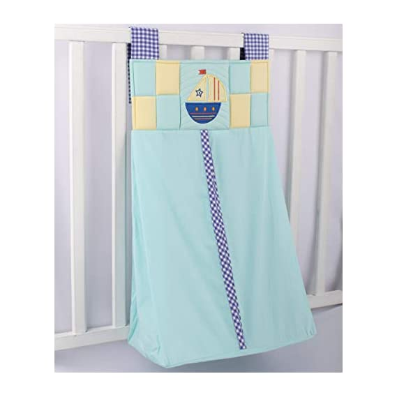 Blooming Buds Blue Hanging Diaper Stacker/Diaper Caddy with Applique Sailboat
