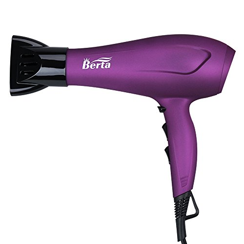 BERTA 1875 Watts Negative Ionic Blow Dryer Soft Touch Finish Tourmaline Ceramic Hair Dryer, Purple