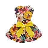 Fitwarm Pet Elegant Floral Ribbon Dog Dress Shirt
