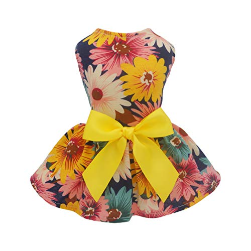 Fitwarm Pet Elegant Floral Ribbon Dog Dress Shirt Vest Sundress Clothes Apparel