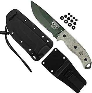 product image for Authentic ESEE 5 Tactical Survival Knife, Kydex Sheath w/Clip Plate (Olive Drab, Serrated Blade)