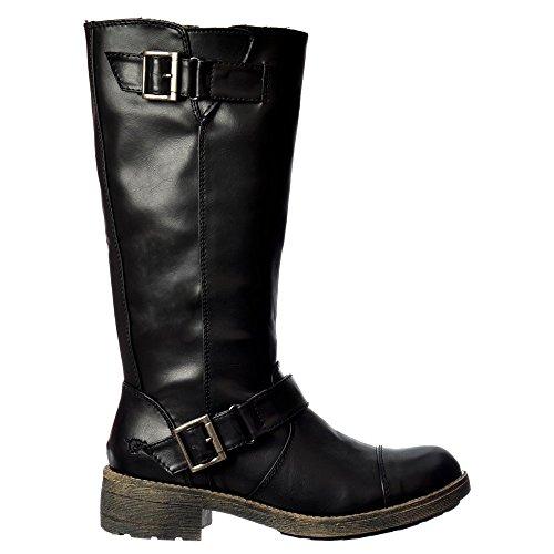 Black Biker Style Boots - 7