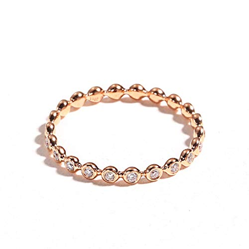 Carleen 18k Solid Gold 0.1ct Diamond Stackable Beaded Ring Band Women Girls (Rose Gold, 7)