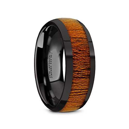 Thorsten MABINI Domed Style Black Ceramic Wedding Ring with Mahogany Wood Inlay and Polished Beveled Edges Comfort Fit Lightweight Durable Wooden Wedding Band Rings - 8mm