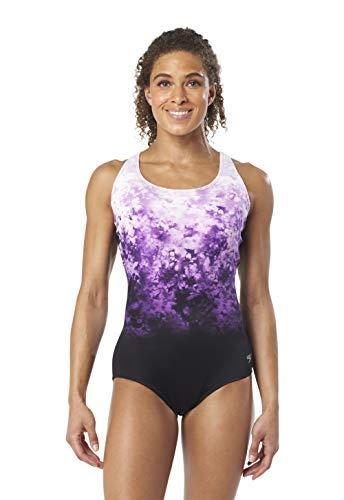 Speedo Women's PowerFLEX Eco Diamond Ombre Ultraback One Piece Swimsuit, Gravity, 10 (Womens Ultraback Swimsuit)