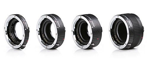 Movo MT-C93 4-Piece AF Chrome Macro Extension Tube Set for Canon EOS DSLR Camera with 12mm, 20mm, 25mm, 36mm Tubes