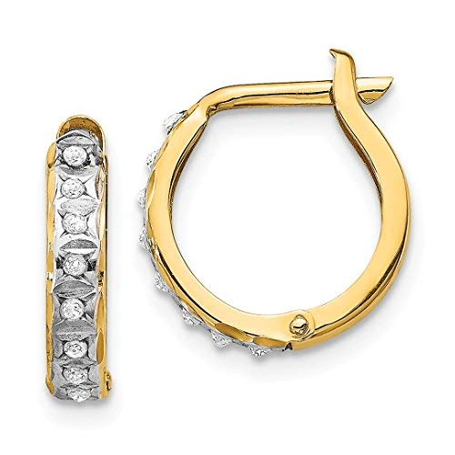 14k Yellow Gold Diamond Fascination Round Hinged Hoop Earrings Ear Hoops Set Fine Jewelry Gifts For Women For -