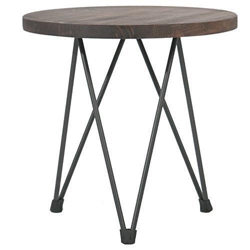 Indhouse - Mesa auxiliar loft con estilo industrial en acero y madera Emerado
