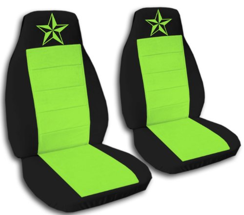 2 front black and lime green, nautical star seat covers for a 2005 Ford Explorer Limited. -  Designcovers, FORD-EX